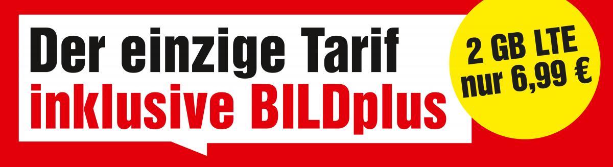Der einzige Tarif inklusive BILDplus - 2 GB LTE nur 6,99 €